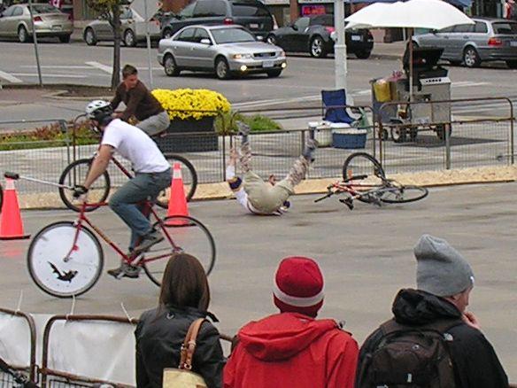 Guy falls while playing bike polo image