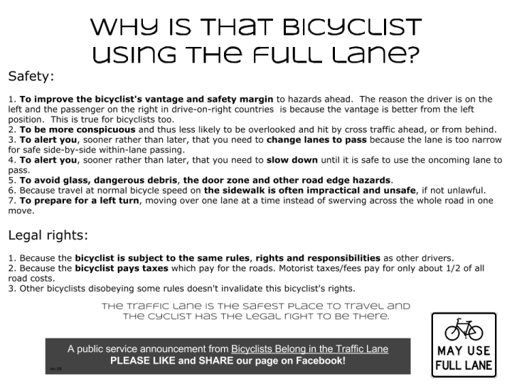 Bicyclists Belong in the Traffic Lane
