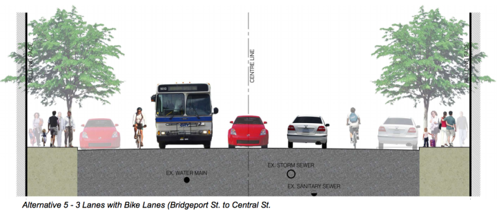 King St. cross section 3-lane