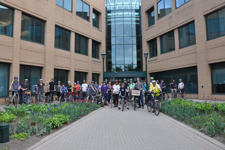 Uptown streetscape ride participants gathered in front of city hall