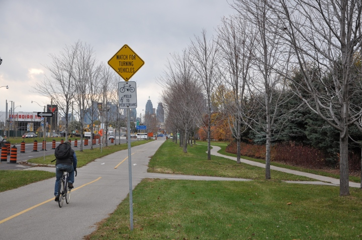 Separate bicycle path on Lakeshore Blvd E in Toronto.