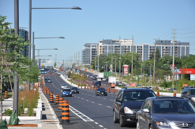 Buffered bike lanes under construction on Highway 7 in Markham